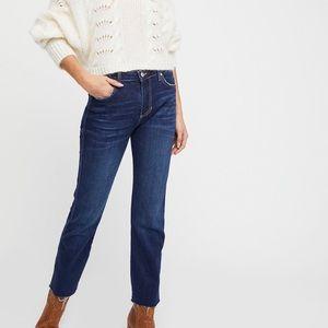 Free People High Waist Raw Hem Girlfriend Jeans